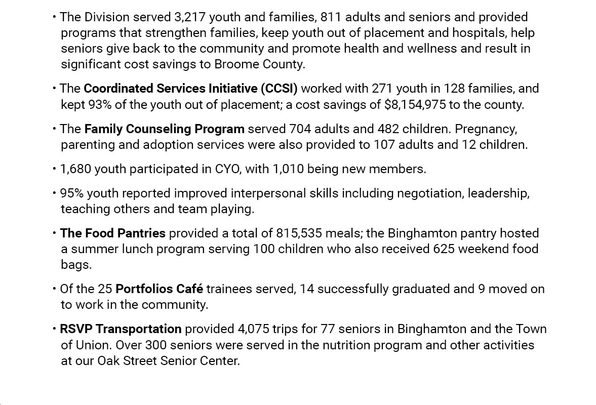 highlights of the youth, family and community services slide 1